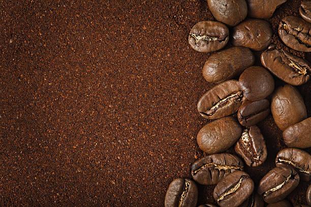 kaffee-hintergrund - kaffeepulver stock-fotos und bilder