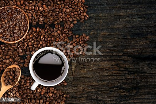 istock Coffee background, top view with copy space. 824938114