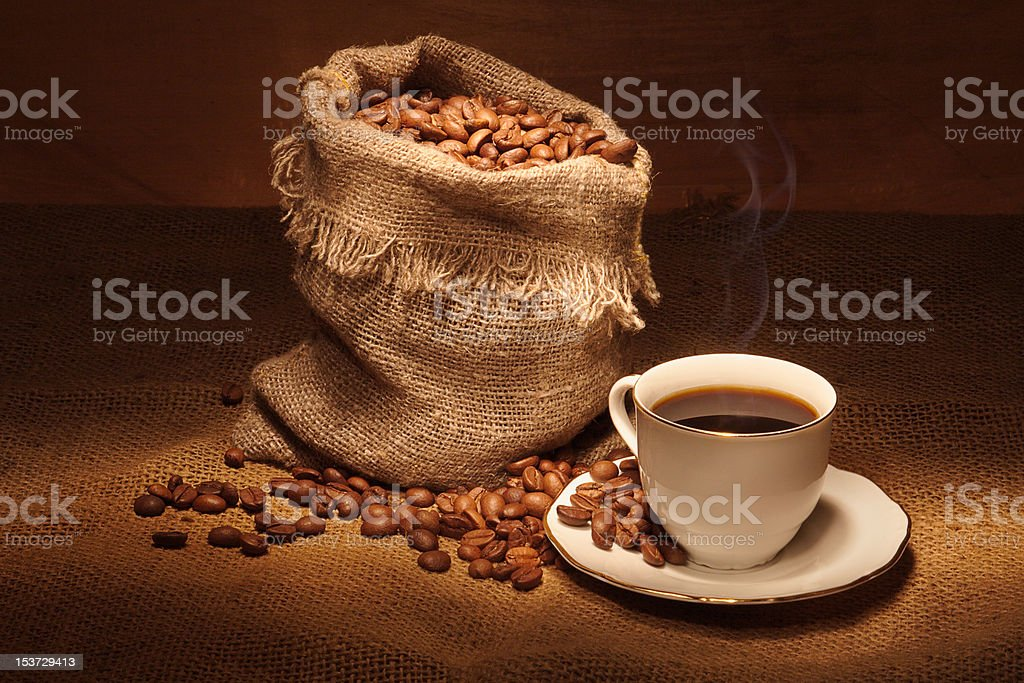 Coffee bag and cup royalty-free stock photo