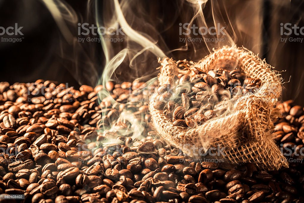 Coffee bag full of fragrance seeds stock photo