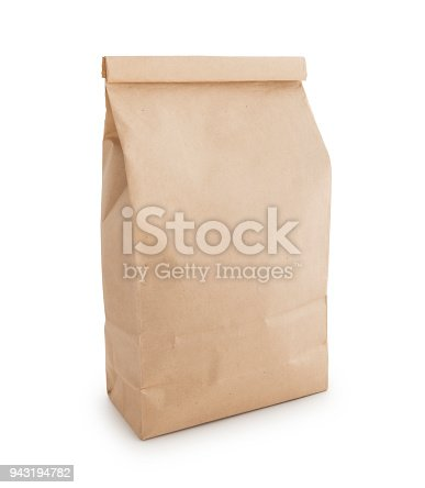 Brown paper coffee bag isolated on white (excluding the shadow)