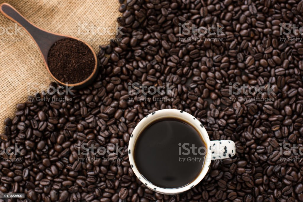 Coffee bean and cup of coffee stock photo