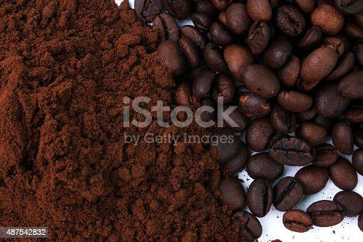 istock Coffee bean and ground coffee 487542832