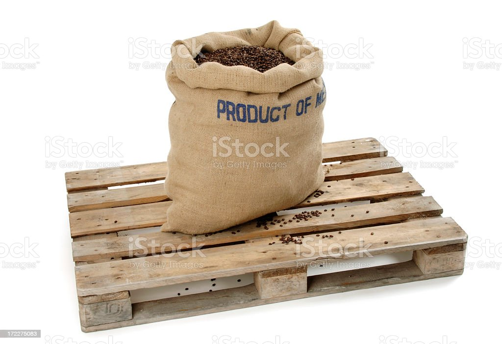 Coffee Bean Bag on a Pallet royalty-free stock photo