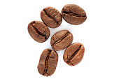 Coffee bean cutout isolated on white