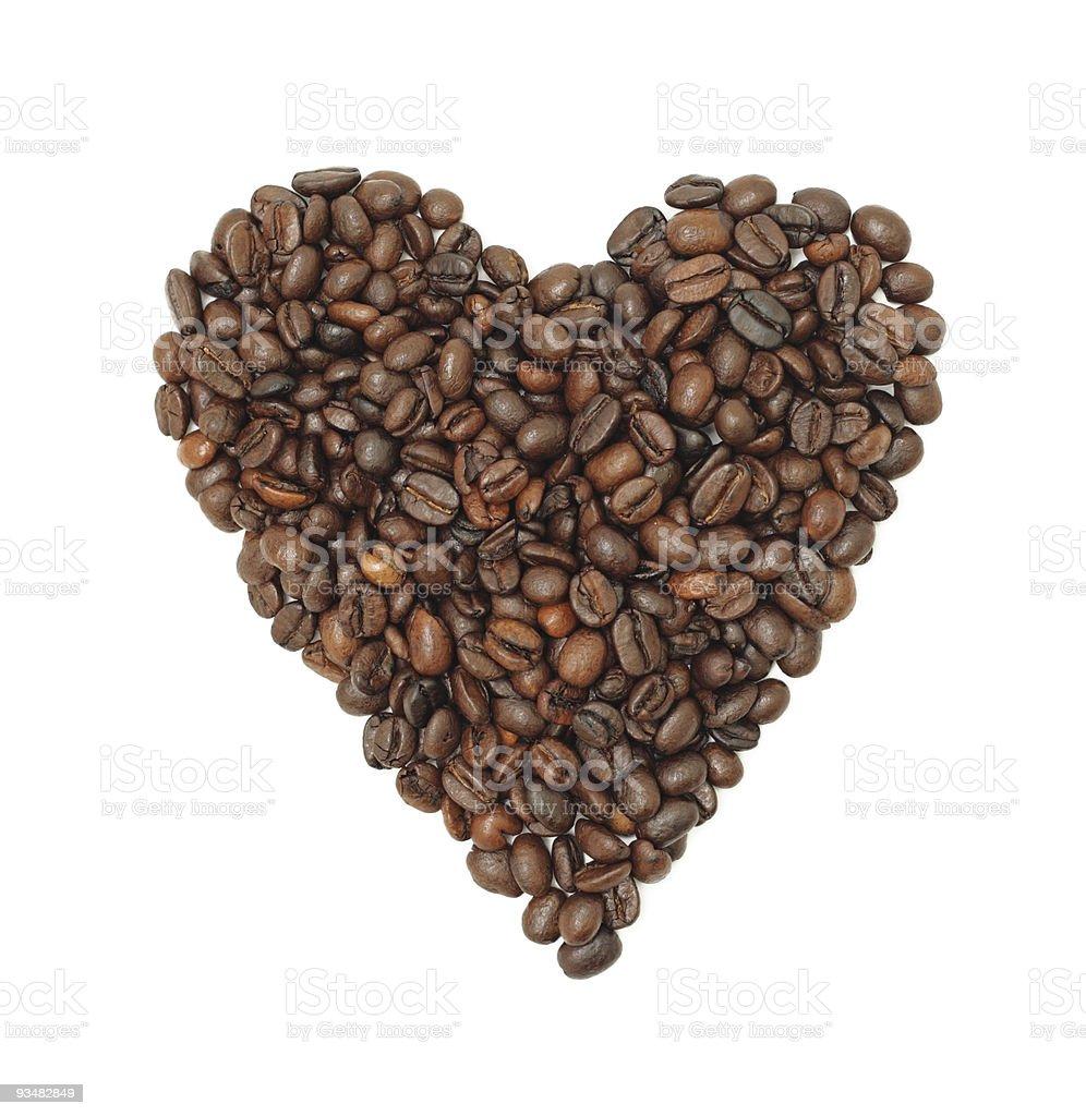 Coffee Bean 심장, 격리됨에 - 로열티 프리 0명 스톡 사진