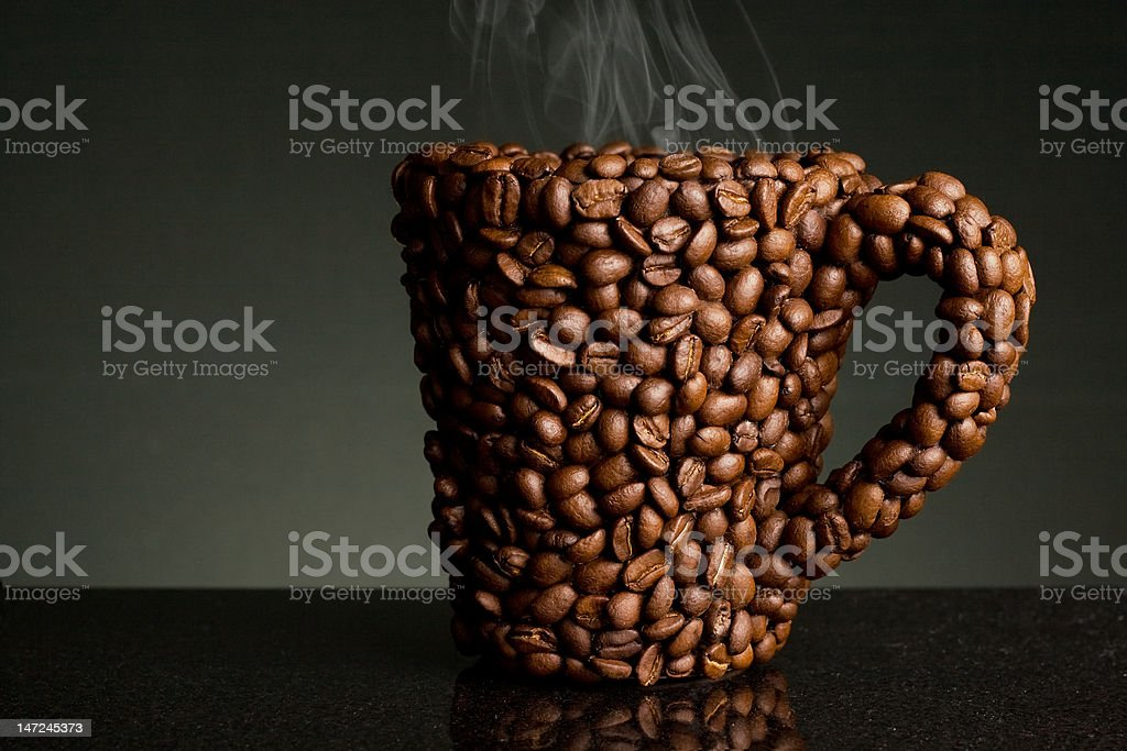 coffee bean mug with steam royalty-free stock photo