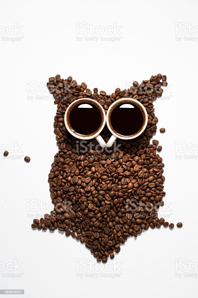 Coffee bean owl royalty-free stock photo