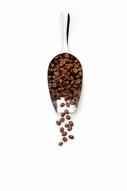 coffee bean scoop with coffee beans Roasted Coffee beans scatter from a  scoop on a white background handful stock pictures, royalty-free photos & images