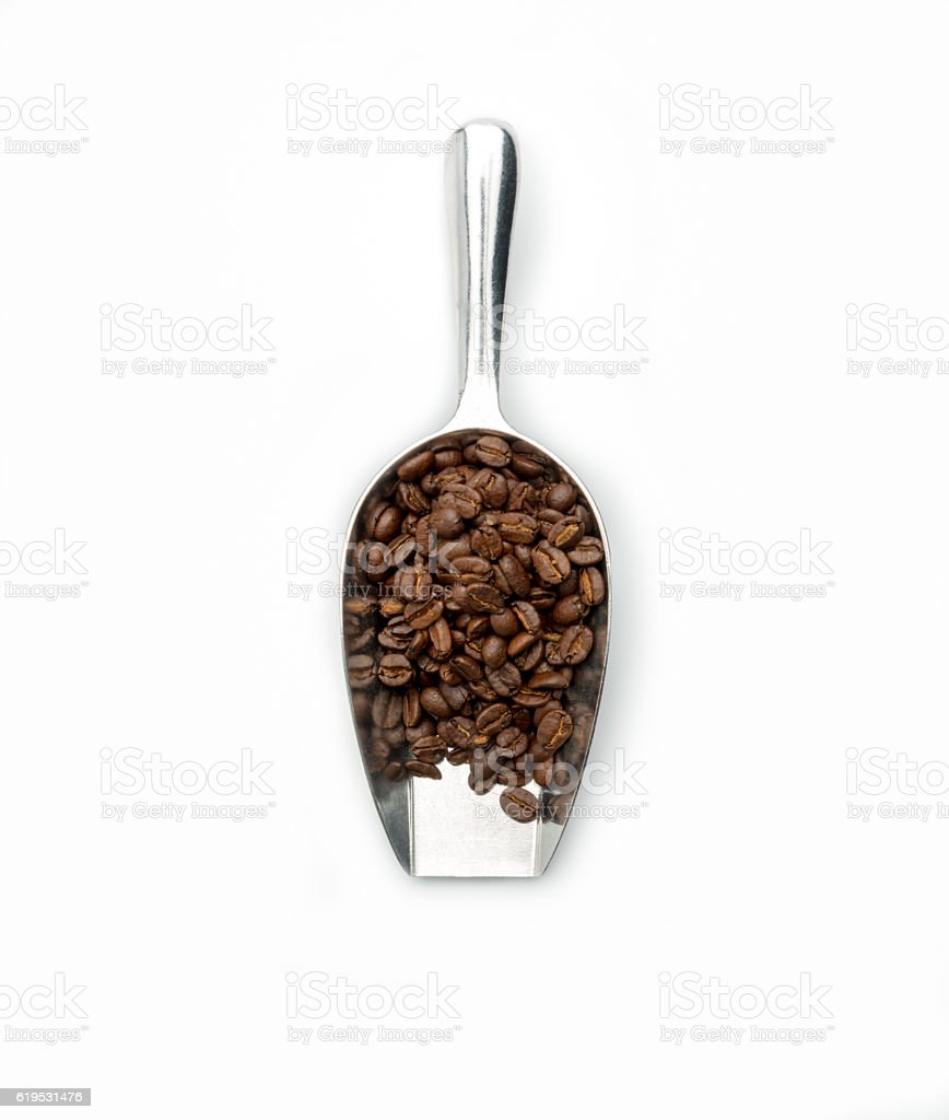 coffee bean scoop with coffee beans stock photo