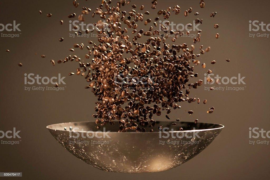 Coffee bean thrown in the air stock photo