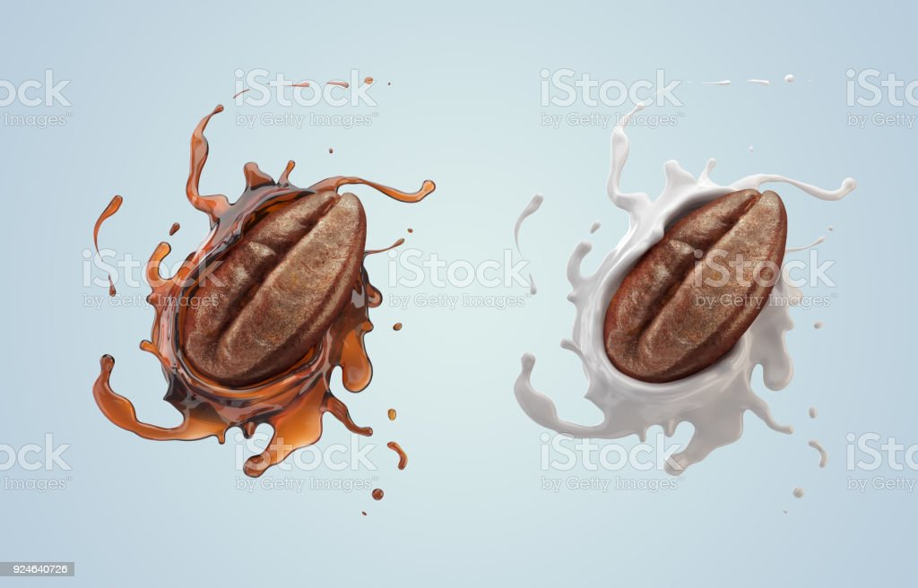 Coffee bean with coffee and Milk splash stock photo