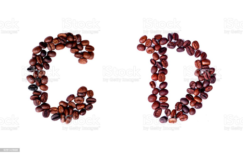 A-Z coffee beans alphabet on isoleted white background for graphic design stock photo