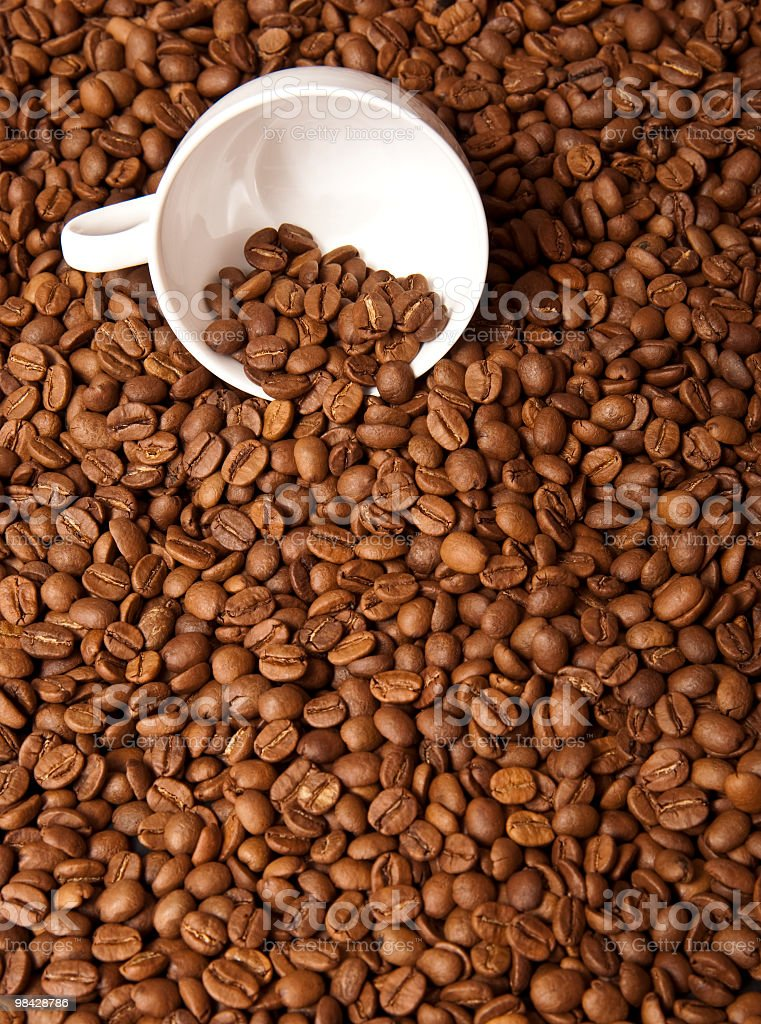 Coffee Beans and a White Cup royalty-free stock photo
