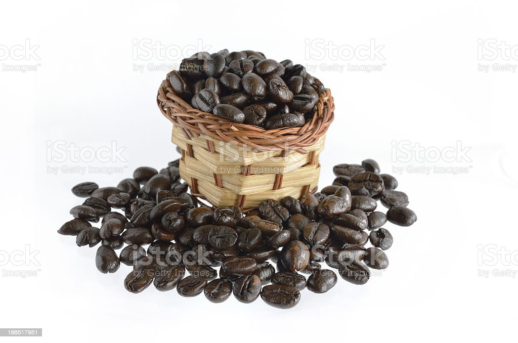 Coffee beans and basket royalty-free stock photo