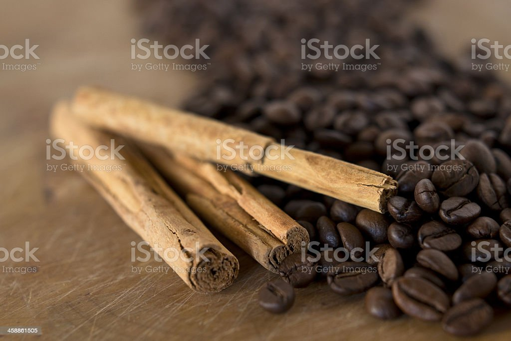 Coffee beans and Cinnamon stock photo