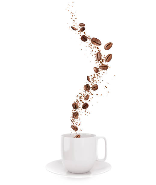 Coffee beans and coffee powder Fly out of a white cup Coffee beans and coffee powder Fly out of a white cup, 3d illustration isolated on white roasted coffee bean stock pictures, royalty-free photos & images