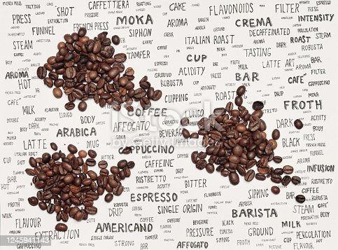coffee beans and coffee words on paper
