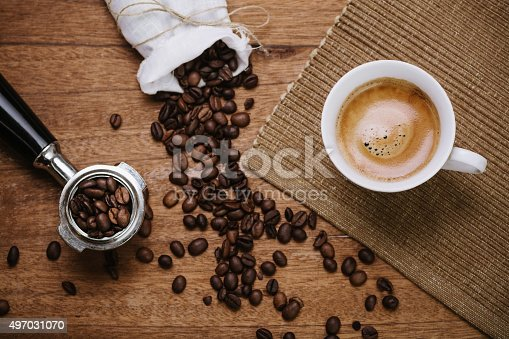 istock Coffee beans and espresso 497031070