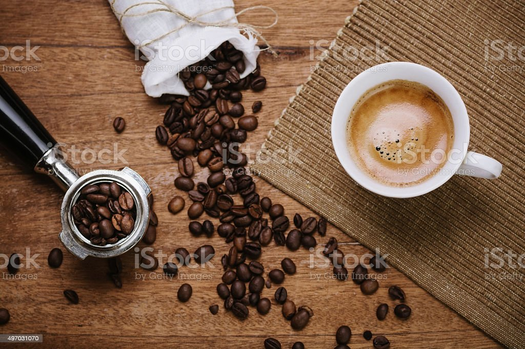 Coffee beans and espresso stock photo