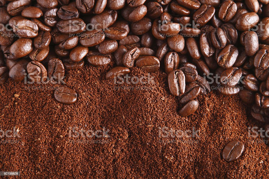 coffee beans and ground stock photo