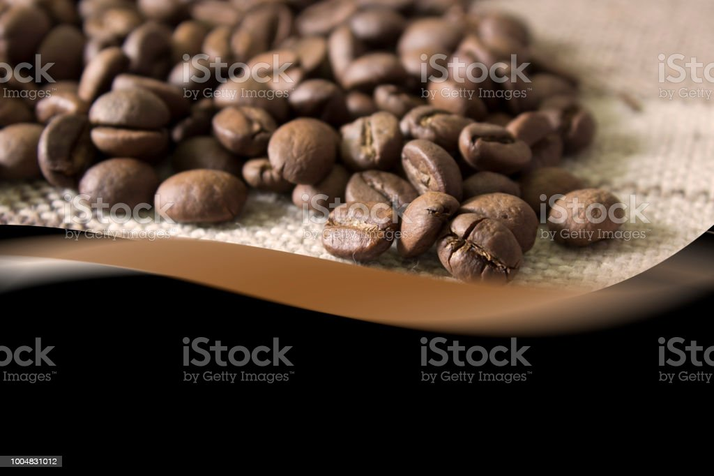 Coffee beans background for.Space for text on black background.Brochure flyer design template. .Food menu design stock photo