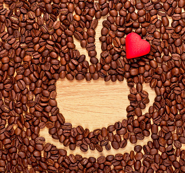 coffee beans cup and heart stock photo