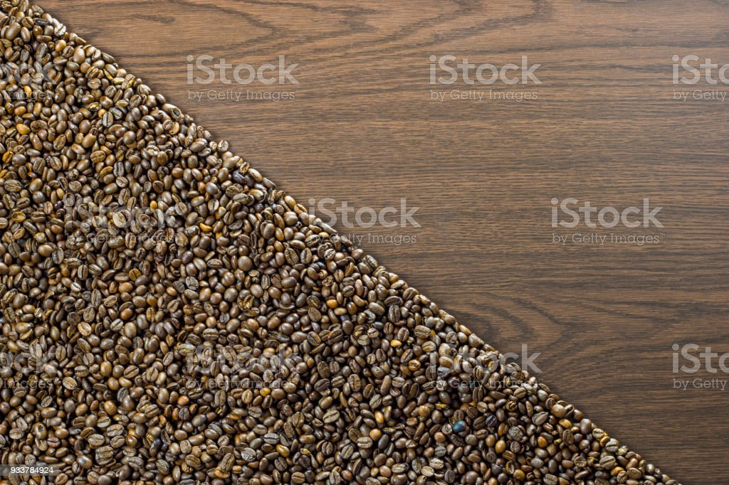 Coffee beans diagonal on one side stock photo