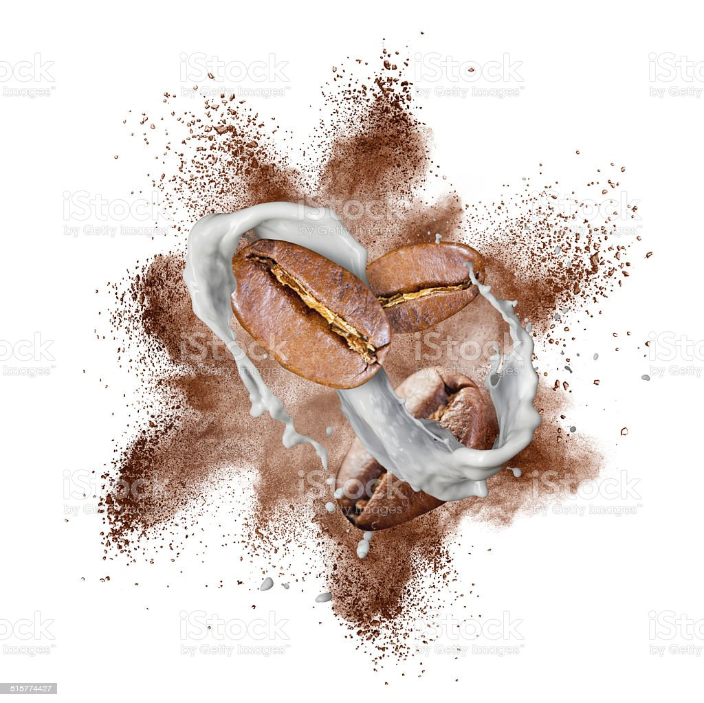 Coffee beans explosion and milk splash isolated on white stock photo