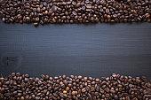 Coffee beans frame on blackboard
