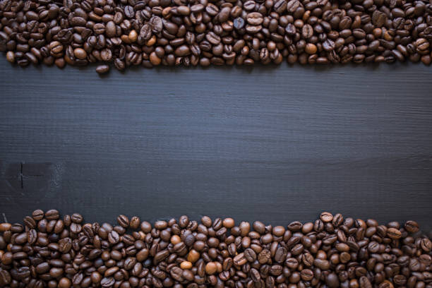 Coffee beans frame on blackboard stock photo