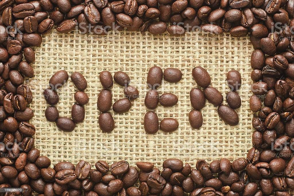 coffee beans frame with open text on sacking royalty-free stock photo