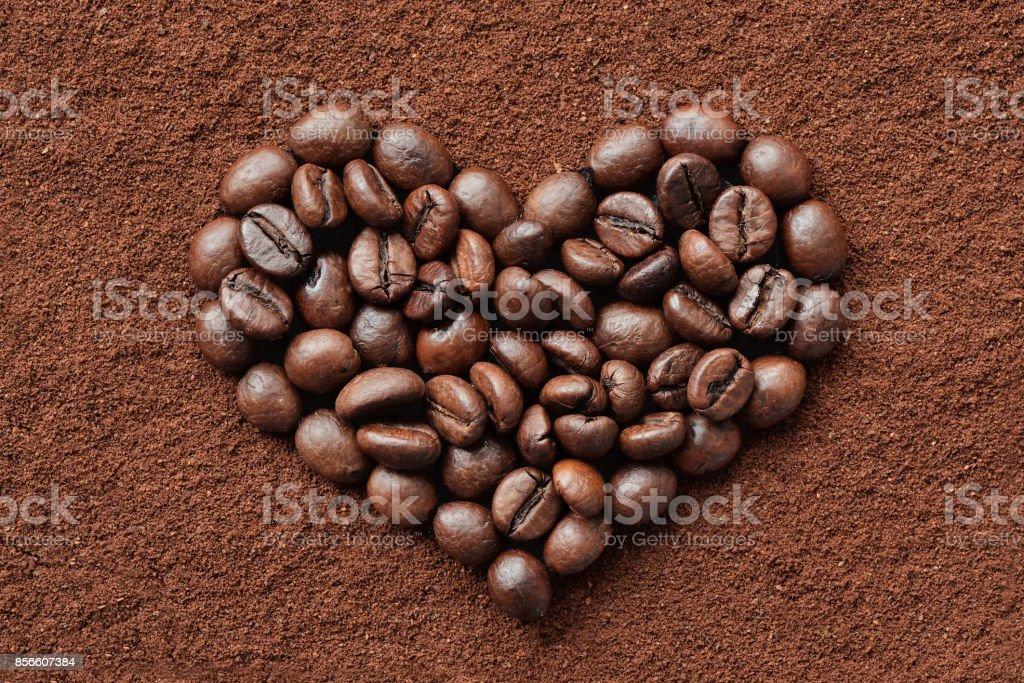 Coffee beans heart stock photo