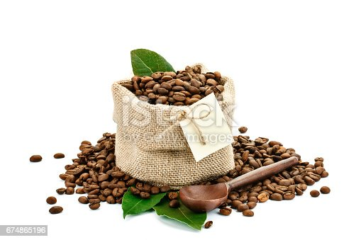 istock Coffee beans in a bag of sackcloth on a white background with blank tag 674865196