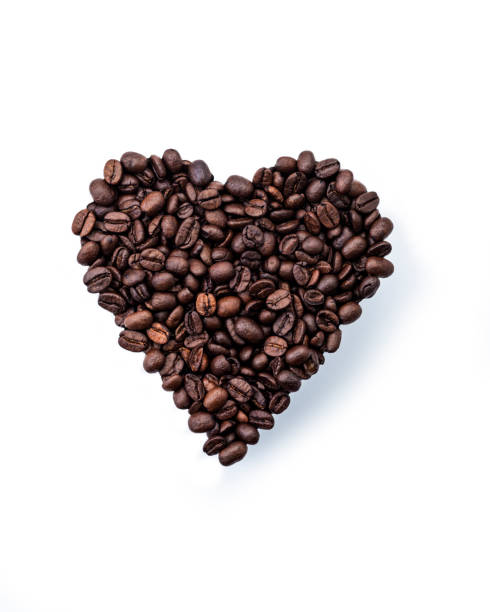 Coffee beans in a Heart Shape. stock photo