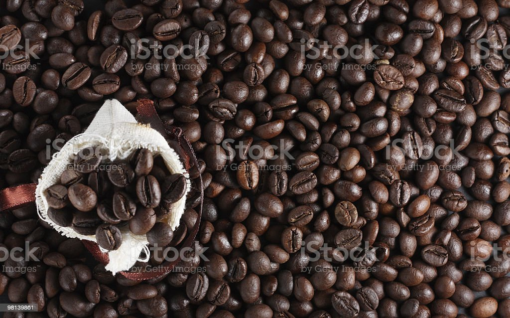 Coffee beans in a sack royalty-free stock photo