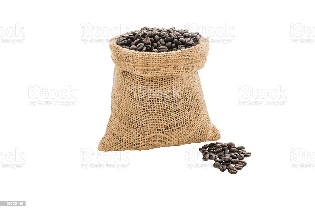 Coffee beans in burlap sack isolated stock photo