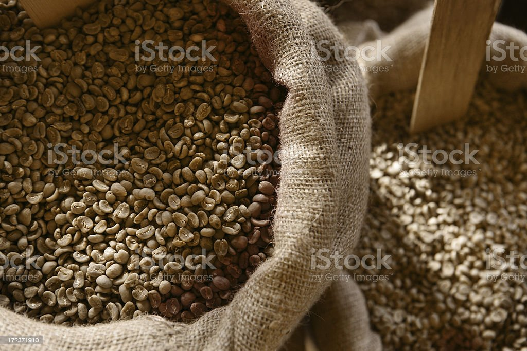Coffee Beans In Burlap Sacks royalty-free stock photo