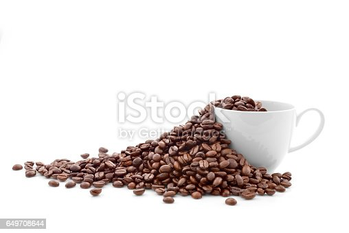 istock Coffee beans in coffee cup 649708644