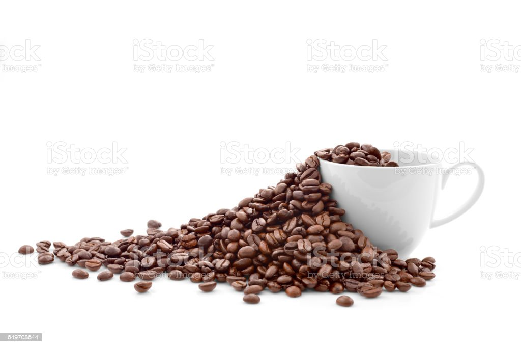 Coffee beans in coffee cup stock photo