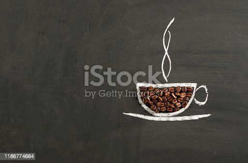 Coffee Beans in Cup Drawn in Chalk