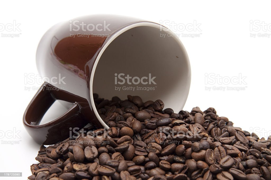 Coffee beans in cup stock photo