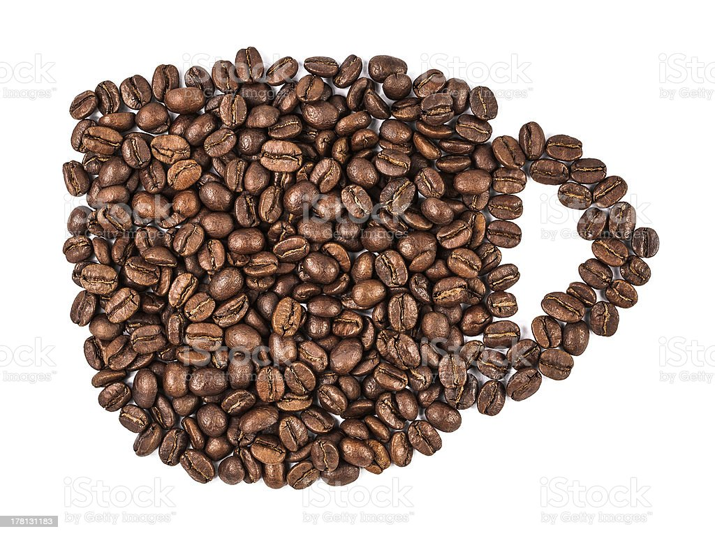 coffee beans in cup shape royalty-free stock photo