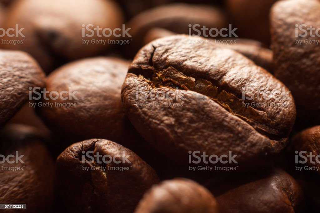 Coffee beans in dark macro royalty-free stock photo