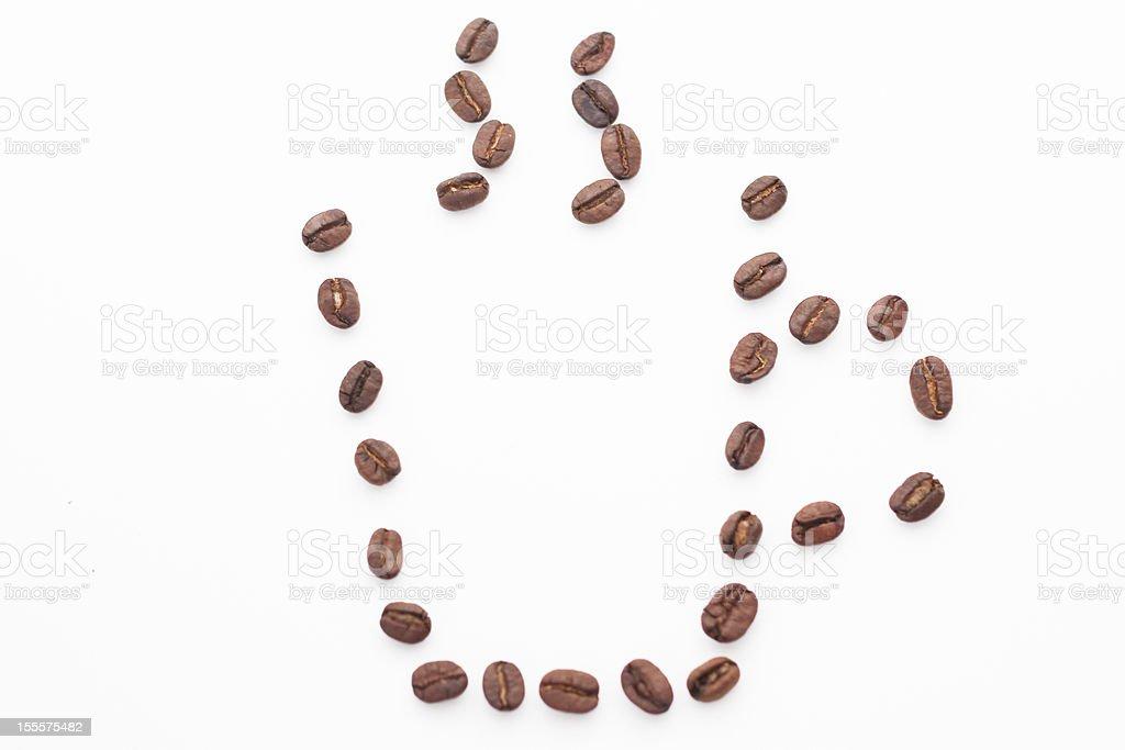 Coffee Beans in Mug Shape stock photo