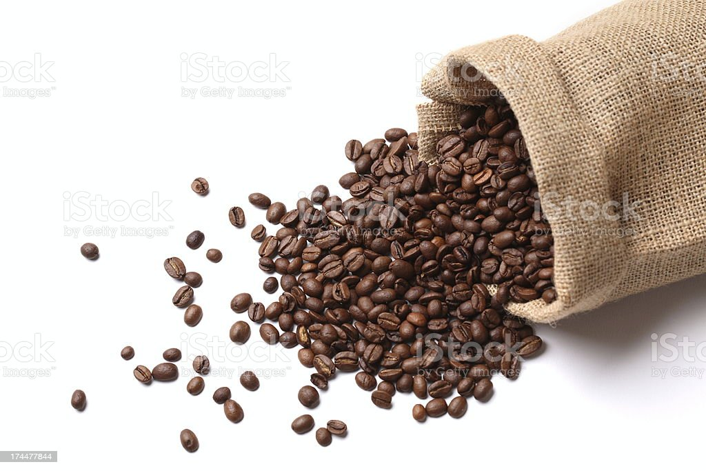 Coffee Beans in Sack stock photo