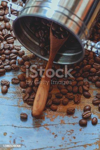 Coffee Beans In Stainless Steel Jar