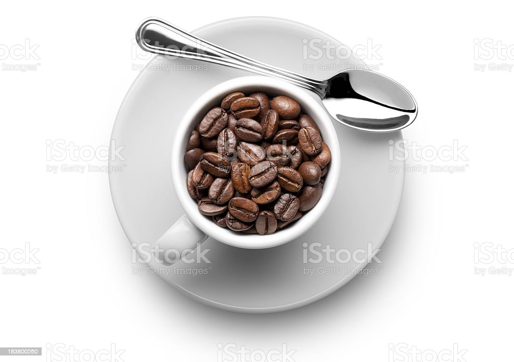 Coffee beans in the cup royalty-free stock photo