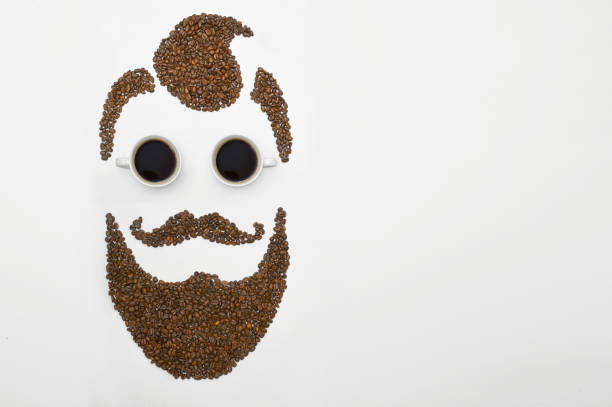 Coffee Beans In The Form Of A Man Facce with Beard stock photo