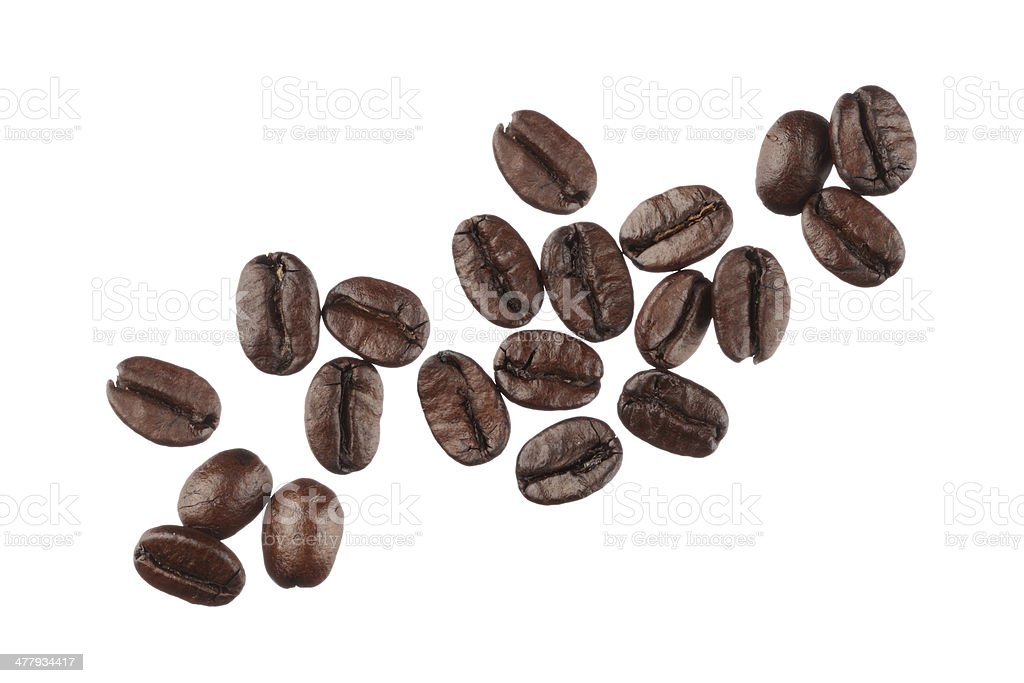 Coffee beans isolated on white background close up stock photo